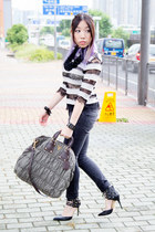 black Levis jeans - olive green Prada bag - black Truth or Dare by Madonna heels