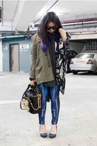 blue RIbyCARRIE leggings - olive green H&M coat - navy horace shirt