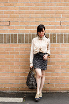 gray high waist H&M skirt - eggshell boyfriend unknown shirt