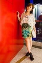 turquoise blue printed Kenax Leung skirt - dark gray glitter Topshop boots