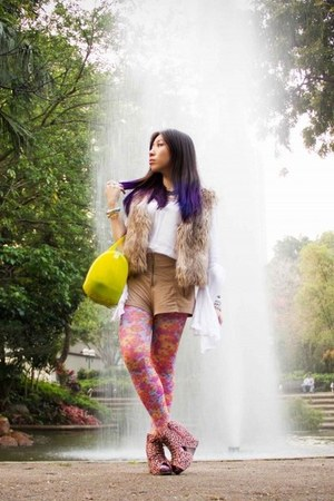 yellow candy bag Furla bag - bubble gum floral Les Fantaisies leggings