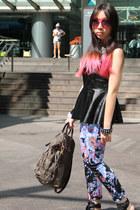 black peplum random from Hong Kong top - Prada bag