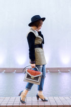 tan Jeffrey Campbell shoes - heather gray loeffler randall bag