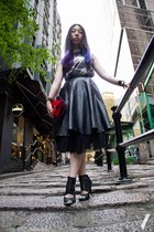 black Nowhere skirt - dark gray Flux shirt - red Miu Miu bag