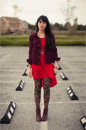 floral Anthropologie tights - Zara boots - urban1972 dress
