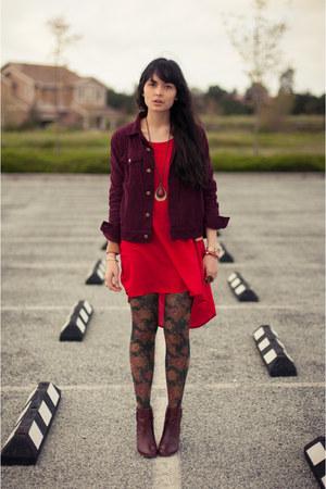 floral Anthropologie tights - Zara boots - urban1972 dress