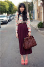 Dark-brown-dooney-bourke-bag-coral-dolce-vita-wedges-romwe-blouse