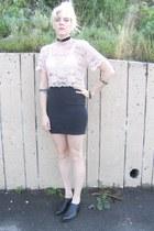 black vintage shoes - black vintage skirt - light pink lace vintage top