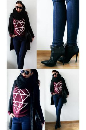 black black coat H&M coat - navy Jeans jeans - black knitted loop scarf scarf