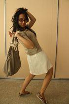 beige unknown blouse - white unknown dress - beige Everbest purse - brown kimmy