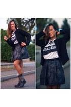 black Pinko cardigan - black ASH boots - white viviennewestwood t-shirt