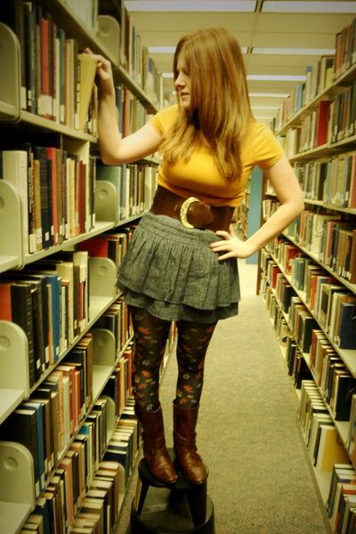 brown Betsey Johnson tights - gray Charlotte Russe skirt - brown Burlington coat