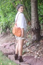 carrot orange Tignanello bag - tan Old Navy shorts - white unknown top - dark br