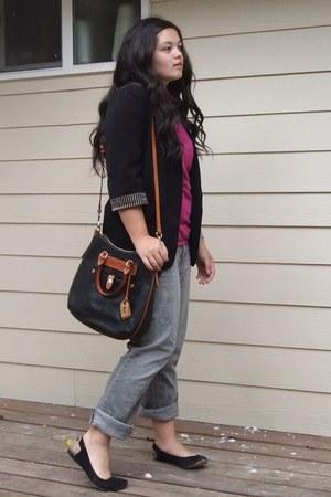 heather gray Aeropostale jeans - black Forever 21 blazer - dark brown Dooney & B