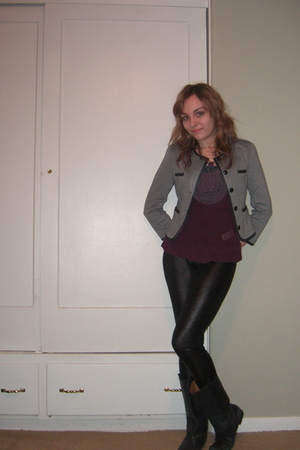 gray H&M jacket - purple Juicy Couture blouse - black leggings - black Guess boo