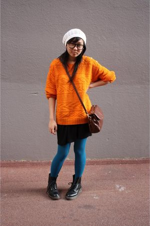orange thrifted - white cotton on hat - brown thrifted - blue cotton on tights -