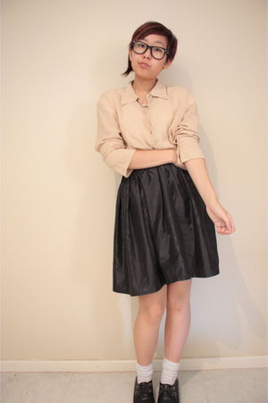 black thrifted skirt - beige thrifted blouse