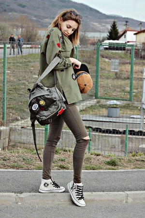 green Stradivarius bag - tan Converse shoes - olive green Bershka jeans
