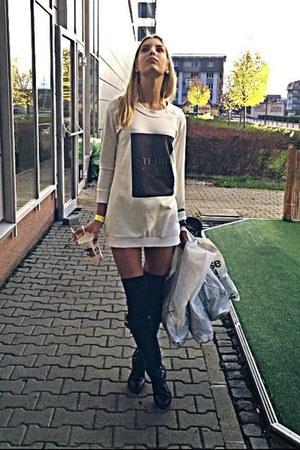 black Zara boots - black H&M socks - white Zara blouse
