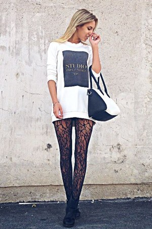 black Pimkie shoes - black Zara tights - white Pimkie bag - white Zara blouse
