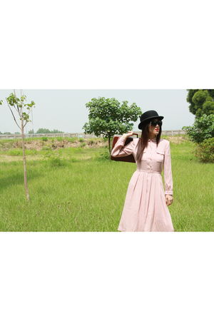 black Halo hat - pink UKk dress