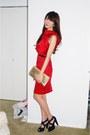 Ruby-red-cocktail-dress-dress-black-skinny-belt-belt-black-heels-shoes-gol