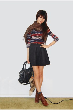 gray Wool skirt - red knit top - charcoal gray angora socks - brown boots - dark