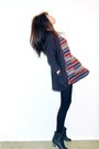 Brick-red-pattern-dress-dark-gray-knit-cardigan-black-bag-black-leather-bo