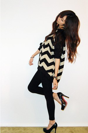 light yellow striped sweater - black fleece-lined leggings - black platform shoe
