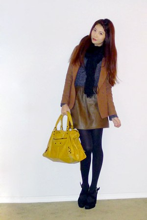 blue one piece dress Taobao sweater - brown wool gmarket blazer - black rabbit f
