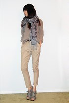 heather gray boyfriend sweater - beige khaki pants - dark brown leopard print be