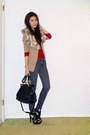 Gray-zip-ankle-miss-sixty-jeans-ruby-red-gold-buttons-urban-outfitters-sweater
