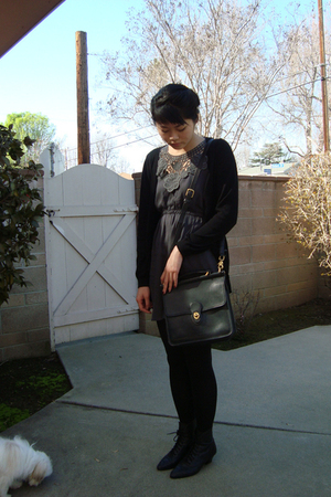 black vintage boots - black vintage Coach purse - gray Gossip dress - black H&M