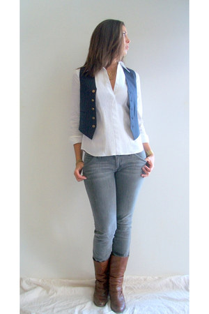 navy YSL vest - heather gray Hudson jeans - gold etsy vintage necklace - gold Mi