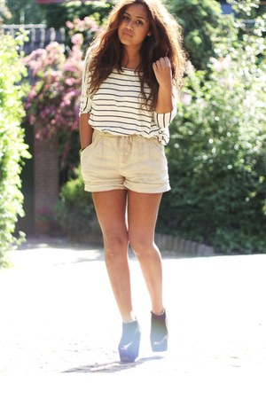 black Topshop shoes - white Mango shirt - beige Zara shorts