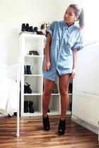 black Topshop boots - blue Levis shirt