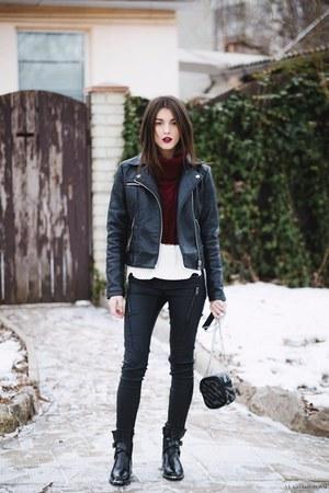 zaful boots - Missguided jacket - zaful sweater - Mango bag - jennyfer pants