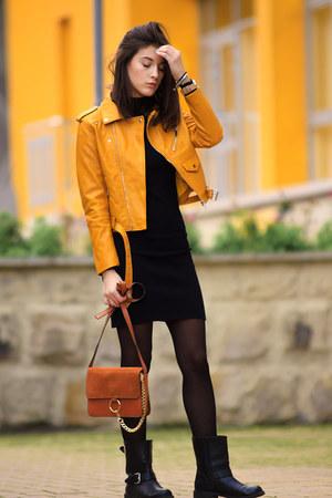 zaful jacket - H&M boots - Zara dress - zaful bag