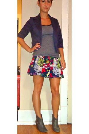 floral skirt Target skirt - Old Navy boots - blue blazer Forever 21 blazer