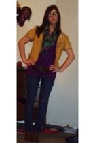 forever 21 blazer - Forever21 shirt - forever 21 scarf - BDG jeans - Etsy shoes