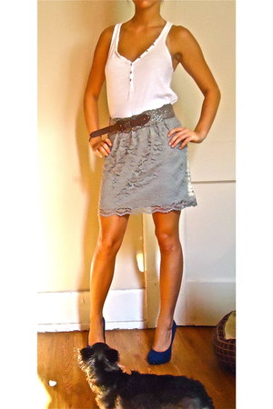 Anthropologie belt - white tank top Old Navy top - gray lace skirt Target skirt