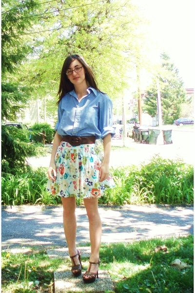 Goodwill shirt - forever 21 skirt - forever 21 belt - DSW shoes