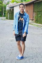 blue denim Pull & Bear shirt - black cotton gildan shirt - black asos shorts