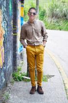 dark brown Hugo Boss boots - light brown Topman shirt - gold casio watch