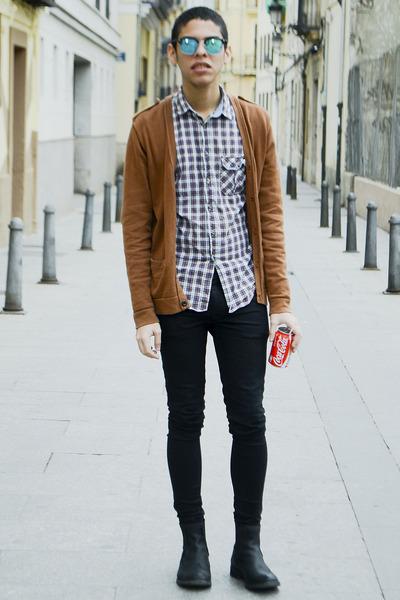 black Zara boots - black asoscom jeans - crimson Zara shirt