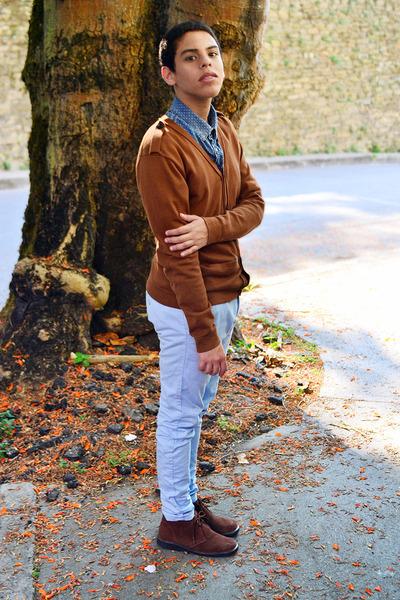 Men's Blue Pull And Bear Shirts, Dark Brown Hugo Boss Boots, Light ...