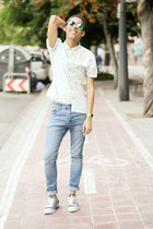 blue H&M jeans - light blue Bershka shirt