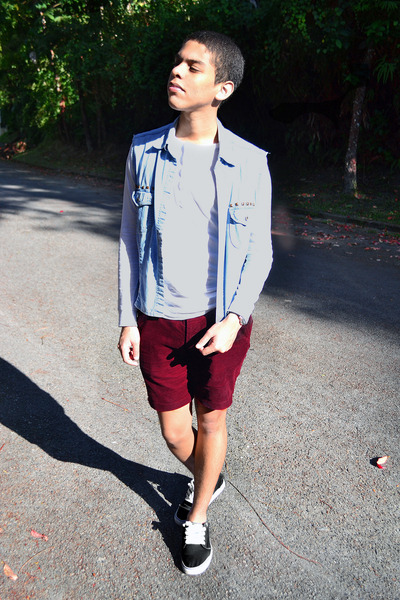 Menu0026#39;s DIY Vests Primark Pants Bershka Sweatshirts Vans Sneakers | u0026quot;Burgundy hot pants.u0026quot; by ...