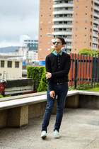 black Zara sweater - turquoise blue zara  DIY shirt - navy H&M pants