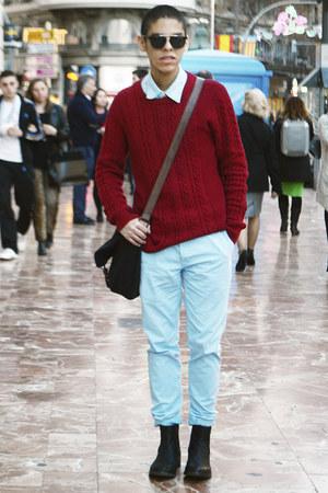 black Zara boots - ruby red Forever 21 sweater - black asos bag